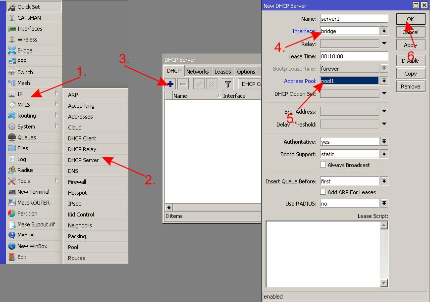 mikrotik настройка dhcp сервера вкладка dhcp