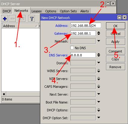 mikrotik настройка dhcp сервера вкладка network