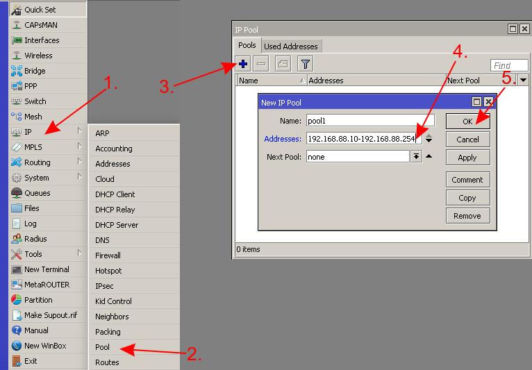 mikrotik добавить пул ip адресов