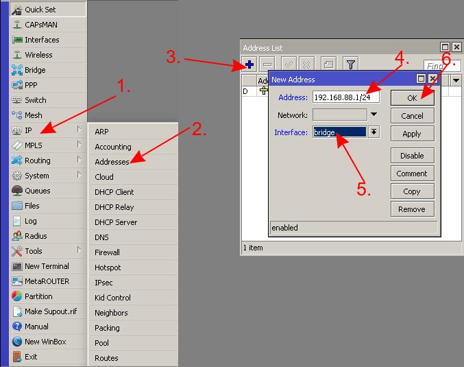 mikrotik добавить IP адрес