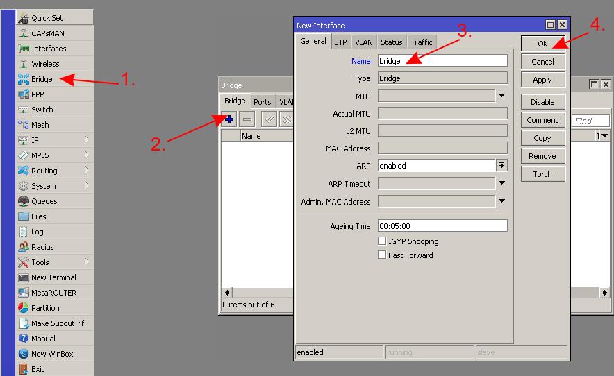 mikrotik добавить bridge бридж