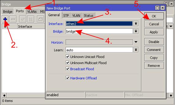mikrotik добавить порт в bridge бридж