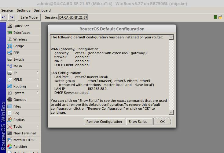 mikrotik remove defaul config